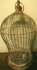 "Vintage Metal Bird Cage Round Domed Rusty chippy paint 17"" Great Patina!"