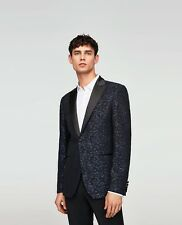 ZARA navy blue jacquard blazer with a satin lapel IT54 UK44 slim fit