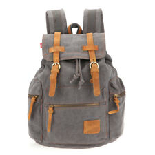 Leather Sports Backpack Rucksack Shoulder Satchel Hiking Traveling Bags Gray