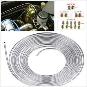 Brake Line Tube 25ft Roll 3/16in OD Zinc Plated Steel With 16 Assort Fittings