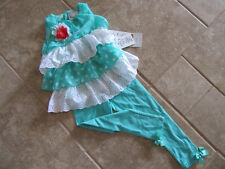 Rare Editions Girls 3T Mint 2 Piece Ruffle Delight Top & Mint Leggings NWT CUTE!