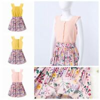 Girls Summer Dress Outfits Casual Top+Floral Print A-line Skirts Princess 2PCS