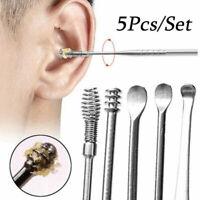 5Pcs Stainless Steel Ear Pick Wax Curette Remover Earpick Cleaner Ear Care Tool