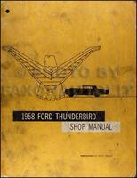 1958 Ford Thunderbird ORIGINAL Repair Shop Manual 58 T bird Tbird OEM Service