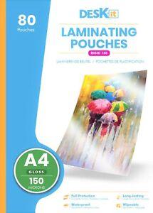 Deskit A4 Laminating Pouches – Gloss – 80 Sheets – 150 Microns