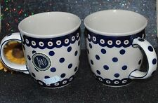 NEW Boleslawiec Ceramic Set /2 Coffee/Tea MUG  Hand Made Poland White Polka Dot