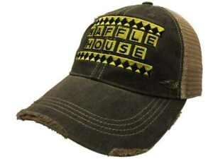 Waffle House Restaurant Retro Brand Mudwashed Distressed Mesh Snapback Hat Cap