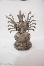 """11"""" Kwan Yin Silver Buddha 1000 armed Avalokiteshvara Bodhisattva 6.5 lbs"""