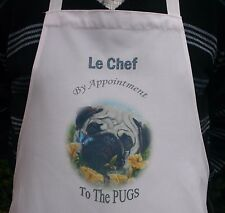PUG DOG NEW DESIGN APRON KITCHEN SANDRA COEN ARTIST OIL PAINTING PRINT