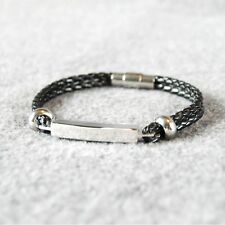 Double Braided Leather Cord Stainless Steel Bar and Magnetic Clasp Bracelet