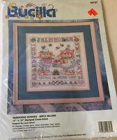 """Vintage Bucilla 12"""" x  12"""" Gardening Buddies Birth Record Stamped Cross Stitch"""