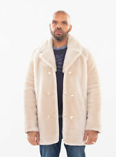 Jakewood Men Sheepskin Mouton Coat Jacket with Mink Fur Collar Size 2XL