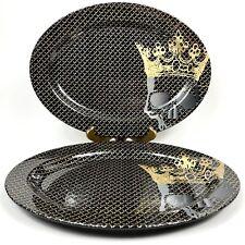 Halloween Melamine Serving Platter Tray Set Of 2 Black Gold Skull Crown Pirate