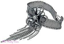 Black Deco Gatsby Lace Mesh Flower Bridal Choker Necklace w/ Swarovski Crystals