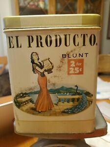 Vintage El Producto Blunt Tin with Lid - Vintage Humidor 2 for 25 - Harp Woman