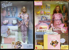 Pregnant Midge Barbie Doll & Baby Pink Dress Happy Family Doctor Bump Dent Lot 2