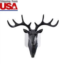 Black Reindeer Deer Wall Decor Antler Hook Clothes Bag Hanger Multi-purpose