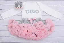 Baby girl 2nd birthday tutu outfit cake smash pink&grey