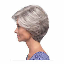 Straight Silver Grey short wig synthetic gray hair wig for old women elder lady