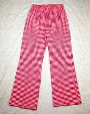 Vtg 70's Polyester Pants Red Houndstooth 1970's Sears Perma Prest Women's Sz 16