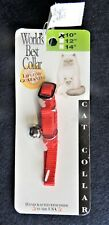"""10"""" x 3/8"""" Nylon Safety Cat Collar w/ Bell Red Leatherite/Nylorite #3130 Nwt"""