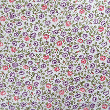 Half Yard 100% Cotton Quilting Sewing Fabric Pink & Purple Cottage Flower Calico