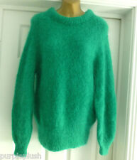 Hand Knitted Moelleux Mohair Laine Sweater Pull Vert Émeraude Petit 8 10