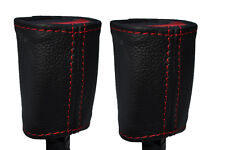 RED STITCH 2X FRONT SEAT BELT LEATHER COVERS FITS HOLDEN COMMODORE VR VS