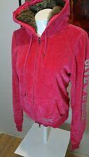 Victoria's Secret PINK Love Fur Lined Hoodie Sweatshirt BLING Large Sequined