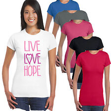 Breast Cancer Live Love Hope Pink Ribbon Charity Race Life Ladies Fit T shirt
