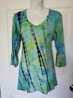 Soft Surroundings Womens Top Tunic Knit Soft Stretch Tie Dye 3/4 sleeve size M