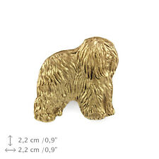 Polish Lowland Sheepdog (body), gold covered pin, high quality Art Dog Usa