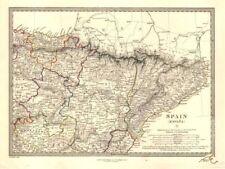 España North East. Cataluña Aragon Soria Navarra guipozcoa Bizcaya. Sduk 1846 Mapa