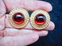 VTG-Gold Tone w/Red Cabochon Glamour Pierced Earrings