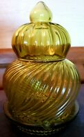Vtg Italian Empoli Apothecary Art Glass Jar Green Optic Twist Mod