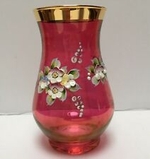 Bohemian Cranberry Glass Vase Applied Gold Gilt and Applied Enameled Flowers