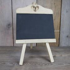SMALL Wooden Chalk Memo Board Blackboard Easel/Stand Heart Cut Out Wedding Home