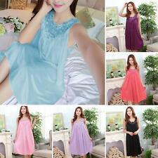 Women's Ladies Night Dress Nightgown Satin Silk Lace Lingerie Pajamas Sleepwear