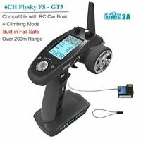 For RC Car Boat FlySky FS-GT5 2.4G 6CH AFHDS RC Transmitter w/ Receiver US STOCK