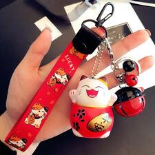 Red Maneki Neko Fortune Lucky Beckoning Cat Bell Keyring Keychain Key Ring