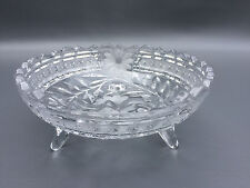 Antique clear pressed glass 3 footed candy dish, Edwardian 1900 - 1910's