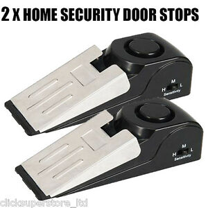 2 x Home Security Wedge Door Stop Alarm System Device Alert Detection P469