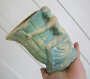 Vintage Art Deco Lady  Mccoy  Matte Green Vase Planter / Un Signed