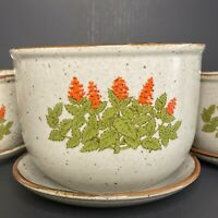 Vintage Floral Botanical Red Flower Herb Speckled Stoneware Planters MId Century
