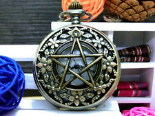 Antique Pentagram Floret bronze vintage charm steampunk pocket watch necklace.
