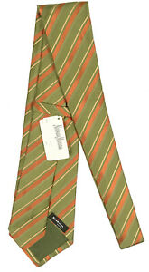 NEW $295 Kiton Pure Silk Tie!   Green Rust Orange & Gold Stripes