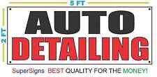 AUTO DETAILING Banner Sign NEW Larger Size 2X5 Red & Black