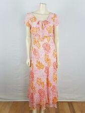 TALBOTS 100% silk cap sleeved floral light colors pink orange Maxi dress sz 8
