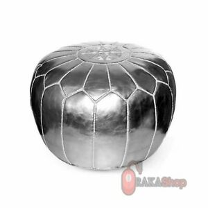 silver faux leather pouffe,leather ottoman pouf,natural leather pouf,