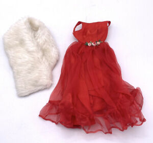 1965 MATTEL BARBIE JUNIOR PROM #1614 OUTFIT Red Gown With White Fur Wrap